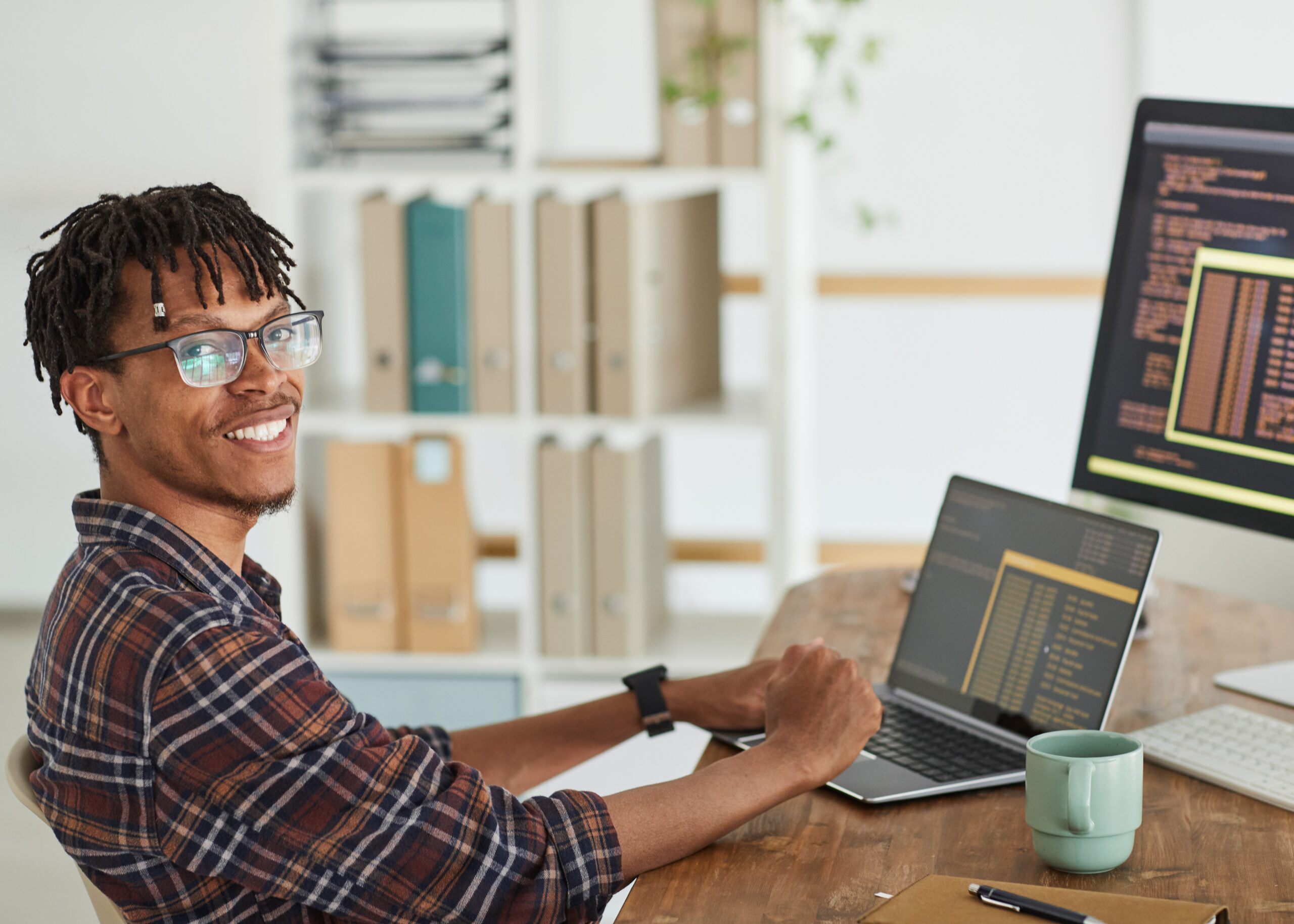 Portrait,Of,Smiling,African-american,It,Developer,Looking,At,Camera,While